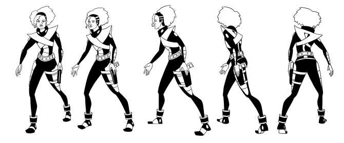 Turnaround for a space pilot character.