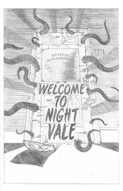 Comic book style cover art inspired by the podcast series Welcome to Night Vale.