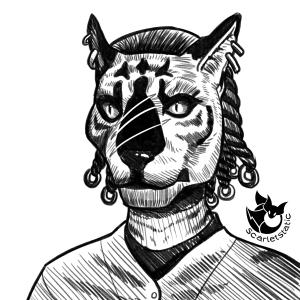 My Khajiit character in Skyrim.