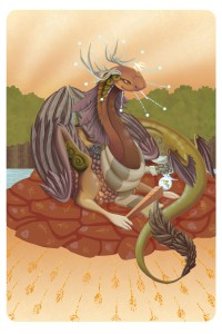 Empress tarot card for my coatl Coatlicue on Flight Rising.