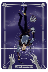 Star Wars: Atton Rand as the Hanged Man tarot card.