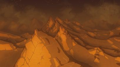 The Next World mountain background.