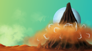 The Next World volcano background