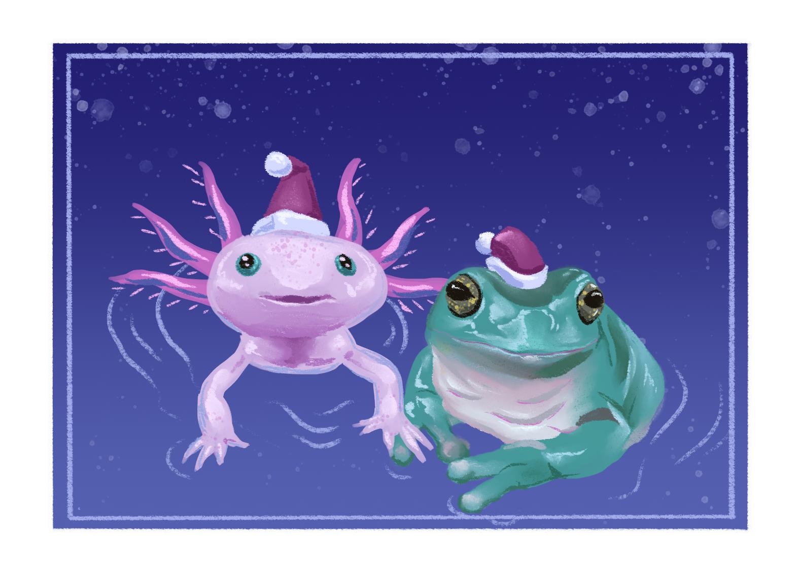 Festive axolotl and frog.